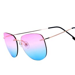 Wholesale China Sun - Clearance Sale Items Metal Aviation Mirror Pink Sunglasses Women Brand Designer Aviador Rimless Sun Glasses Cheap China Hot Sold