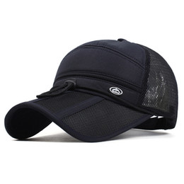 Wholesale Visor Motorcycle - 2017 Quick Dry Unisex baseball caps motorcycle cap golf hat men women Long visor casual summer hat
