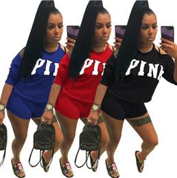 Wholesale wholesale outdoor sportswear - 3 Colors PINK Letter Shorts Suit Gradient Short Sleeve T-shirt Short Pants Pink Outfits Tracksuit Outdoor Sportswear 2pcs set CCA9845 12set