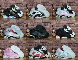Wholesale Lace Shoes For Girls - 2018 Children 6 Basketball shoes for Boys Girls Infrared Carmine 6s UNC Toro Hare Oreo Maroon Youth Sports Sneakers Kids size EU28-35