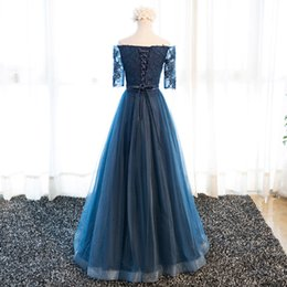 Wholesale Vintage Bone China - Modest Dark Navy Prom Dresses Off the Shoulder Tulle Long Evening Gowns With Sleeves Simple Cheap Party Dresses China USA Formal Gowns
