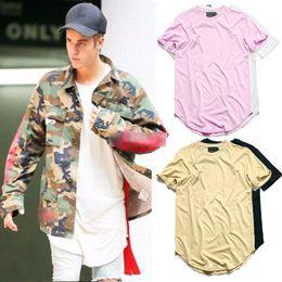 Wholesale Mens Plain Clothing - Hip Hop Tshirt Men Urban Extended Curved Hem T-shirt Plain Longline Mens Tee Shirts Justin Bieber Kanye West Clothes