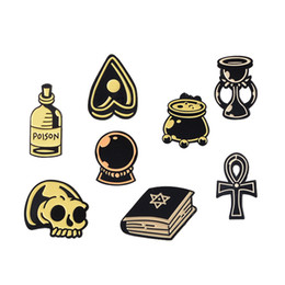 kids party books Promo Codes - Enamel Wizard Magic Book Crystal Ball Skull Sand Glass Lepal Pins Brooch Badge Fashion Jewelry for Women Men Kids Gifts Drop Ship 370041