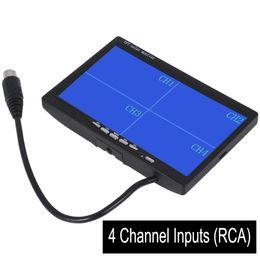 "Wholesale Quad 12v - 7"" TFT LCD Car Rearview Quad Split Monitor Remote Control 4 Channels RCA Video Inputs - 12V-24V 800*480HD Screen w  Sunshade A"