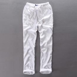 617cfc4f163 Elastic waist loose long pants men linen trousers men cotton summer spring  pants mens pantalon homme 29-38 size flax clothing flax linen clothing on  sale