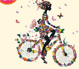 sticker bikes Promo Codes - Bike Flower Girl DIY Stickers for Tshirts Hoodies Patches Iron-on Transfers Patches For Clothes