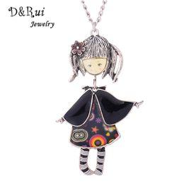 Wholesale costume gun - Enamel Gun Plated Cute Girl Doll Necklace Costume or Bag Accessory Enamel Alloy Jewelry Long Pendant Necklace Women