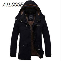 Wholesale Mens Thick Lined Winter Coat - AILOOGE Men's Fur Lined Jacket Thick Long Warm Winter Fit Hooded Coat Overcoat Men Winter Jackets Mens Cotton Coats Outwear