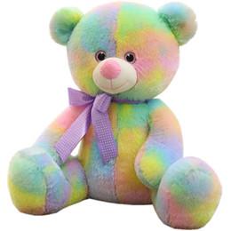Wholesale teddy bear lovers big - Kawaii Cartoon Soft Fantasy Bear Colorful Toy Big Plush Anime Rainbow Bears Doll Lovely Pillow Hug Bear for Lover Baby Gift 60cm 24inch