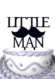 Wholesale First Birthday Party Decoration For Kids Happy Acrylic Cake Topper Little Man Baby Shower Men Cakes On Sale