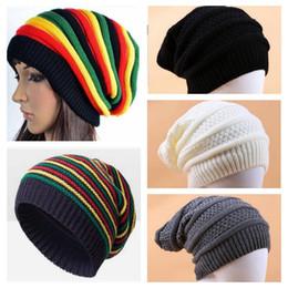 Mujeres Invierno Cálido Sombreros Niñas Reggae de Jamaica Gorra de lana  Moda Colorido de la raya Gorros Largo Rainbow Knit Hat Pullover Caps 5  colores YL682 904914fd167