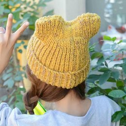Wholesale Coarse Yarn - Girls Hat Winter Color Cat Ear Korean Tide In Autumn and Winter Coarse Wool Knitted Hat Cap Thick Warm Ear Cap
