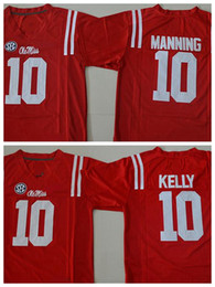 Wholesale Eli Manning Jersey Xl - 2017 2018 New Red Ole Miss Rebels College Football Jerseys 10 Chad Kelly Mens Eli Manning Stitched Jerseys Football Shirts free shipping
