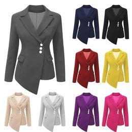 395415676fd ropa occidental mujer Rebajas Moda delgado asimétrico traje de mujer abrigo  botones de manga larga sólido