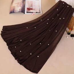 fester roter schal chiffon Rabatt Jersey Perle Schal unendlich Baumwolle Perlen Schals Polyester muslimischen Hijab reine Farbe Kopf beliebte Schal Schals YW63