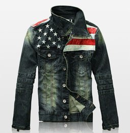 Wholesale Flag Denim Jacket - Mens Denim Jackets Outerwear American Flag Male Do Old Blue Motorcycle Jeans Jacket Coat Man Fashion Slim Jeans Denim