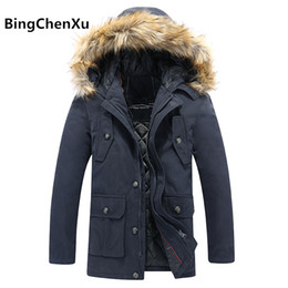 Wholesale Trench Dark Blue - Hooded Overcoat Mens Thick Winter parkas Fashion Long Trench Coat Men Jacket Comfortable Windbreaker Quality Jackets Outwear 542