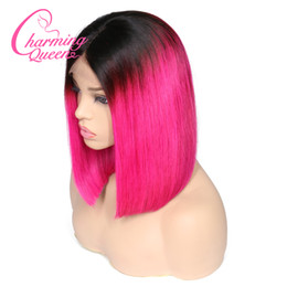 cut parting wig Promo Codes - T1B Color Ombre Human Hair Wigs Black Roots Cut Short Bob Wigs Middle Part Natural Hairline Remy Brazilian Human Hair