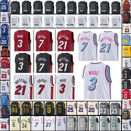 Wholesale Miami Shorts - 17 18 New Men's MIAMI 3 Dwyane Wade 21 Hassan Whiteside 21 Hassan Whiteside Basketball 100% Stitched Jerseys