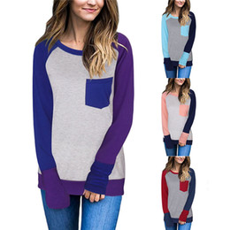Wholesale Splice Round Neck Shirt - Women Patchwork Pocket Shirts Autumn Winter Block Splicing Pocket Long Sleeve Loose Casual T-shirts Blouses Tops OOA4422