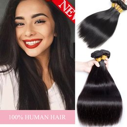 Wholesale double wefted hair - Real Hair Weave 100% Natural Human Hair Bundles straight 3 Piece Lot Double Wefted Human Hair