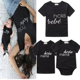 Wholesale bebe brand - Family matching clothes letter printed HOLA MAMA BEBE cotton T shirt short sleeve parent-child casual suits