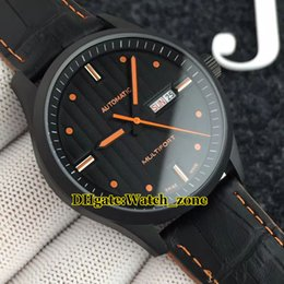 giorno pvd Sconti Day-Date Multifort Gent M005.430.36.051.80 quadrante nero Giappone Miyota Automatic Mens Watch PVD nero Sapphire Leather Watches