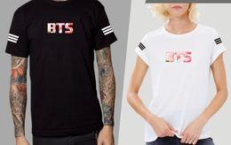camisetas de beisbol de diseño Rebajas Brazo A Rayas Diseño BTS Carta Imprimir T-shirt Hombres Mujeres Camisetas de Béisbol Casual Amantes de Verano de Manga Corta Camiseta de Moda