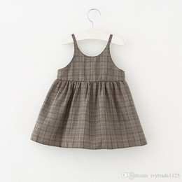 Wholesale Nice Briefs - 2018 New arrival Girls Kids nice plaid pring sling dress kids girl casual dress soft comfortable all match dress
