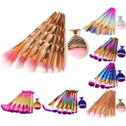 Wholesale Nylon Tools - 8Pcs Mermaid Rainbow Makeup Brushes Set Screw Diamond Big Fish Tail Foundation Brush Cosmetic Beauty Tools Multipurpose Make up Brushes Kit