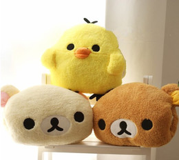 Wholesale Warm Teddy Bear - Aeruiy 30x25cm plush cartoon rilakkuma yellow chicken hand warmer pillow, stuffed animal cushion, happy birthday gift for girls