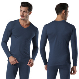 thermal shirt underwear men Promo Codes - Men Winter Warm Cotton V Neck Thermal Underwear Set Thicken Long Sleeve Tops Bottom High Quality Free Shipping