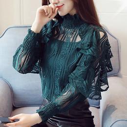 maglie camicetta Sconti Camicetta a due pezzi del vestito della maglia del pizzo delle nuove donne di autunno Camicetta del pullover di Gentlewoman del nero verde Camicetta casuale delle donne Stile dell'ufficio