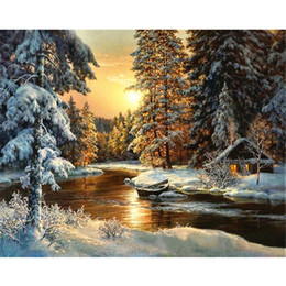 Wholesale River Picture - DIY Handpainted Wall Art Home Decor Oil Painting By Number Drawing On Canvas Sunset River Forest House Landscape Picture J2Y