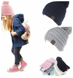 CC Beanie Hat Pom Pom kids Girl boy Crochet Knit Cap Winter Skullies  Beanies Warm Caps Female Knitted Stylish Hats For child KKA5737 dafd049ff1df