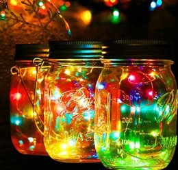 Luci fiabesche calde online-Mason Jar Lights 10 LED Solar Warm White Fairy Copper String Lights Coperture Garden Party Decoration Outdoor Lanter Insert AAA760
