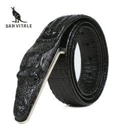 Wholesale vintage fancy - Crocodile Belts for Men Cowhide Genuine Leather Luxury Brand Strap Male Buckle Belt Fancy Vintage for Jeans Cintos Dropshipping