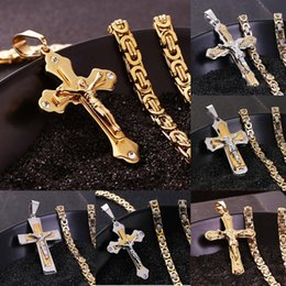 Wholesale Silver Biker Necklace - stainless steel Mens Cross necklaces Multi-layer Christian Jesus Crucifix pendant Biker Chain For male s Fashion Hip hop Jewelry