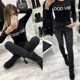 Wholesale 2xl Jeans For Female - High Waist Jeans New Ladies Cotton Pearl jeans Denim Pants Stretch Womens Ripped Skinny Jeans For Female
