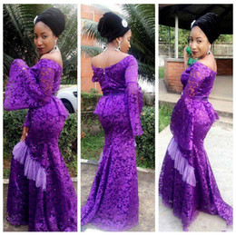 Wholesale Long Sleeve Evening Dresses Online - 2018 Lace Poet Long Sleeve Evening Dress Slim Aso Ebi African Mermaid Custom Online Formal South African Prom Party Gowns Formal Wear