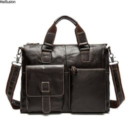 Maillusion New Men Briefcase Vintage Genuine Leather Luxurious Brand Satchel  Bags For Male 15  Laptop Bag Fashion Messenger Bags 8940ddaf70a39