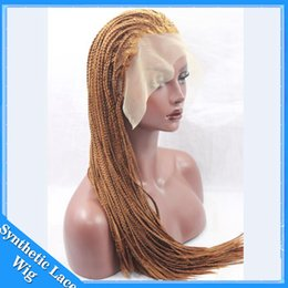 Wholesale Hair Braid Blonde - Hot Selling Heat Resistant Micro Braided Wigs African American Hair Braiding Styles Long Blonde Wig Lace Box Braids Synthetic Wig 27#30#