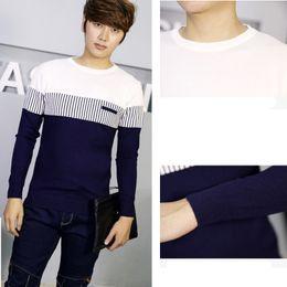 Wholesale color collage - Men's sweater Round neck sweater 1Pcs Fashion Collage color