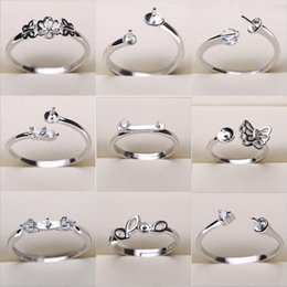 Wholesale Sized Rings - Pearl Ring Settings Sliver Plated Rings Settings 17 Styles DIY Rings Adjustable size Jewelry Settings Christmas Statement Jewelry