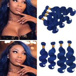 Argentina Indian Blue Virgin Hair 4 Bundles Deals 400g Lot Body Wave Ondulado Azul oscuro Tejido de cabello humano Extensiones de tramas dobles 4Pcs Lot Cheap cheap cheap hair extensions blue Suministro
