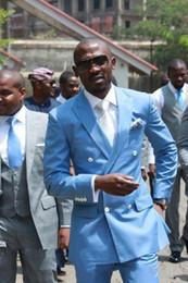 Canada New Classic Design Sky Blue Tuxedos Groomsmen Le meilleur costume pour homme Costumes de mariage pour homme Costumes d'affaires de jeune marié (veste + pantalon + cravate) 30 supplier sky blue tuxedo suit Offre