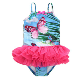 Wholesale tutu swimwear - Girls one-piece swimsuit summer children butterfly printed Siamese swimwear girls suspender lace tulle tutu swimming kids beach cloth A00426