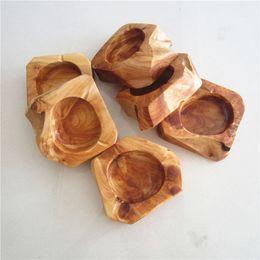 Wholesale Wholesale Ash Holders - Dia Wooden Round Brown Ash Holder Smoke Cigarette Ashtray brown Pocket Ashtray 11-13cm about Home Car Ashtray