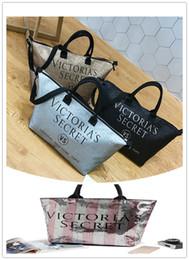 Wholesale Rolls Bags - Pink Handbags New Arrivals Pink Secret Carpet Travel Striped Waterproof Bag PINK Beach Shoulder Bag Duffle sliver Bag Towel