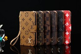 Wholesale Iphone Case Lanyard Wallet - Luxury Grid PU Leather Wallet Flip Cover For iPhone X 8 8plus 7 6 6s Plus Brands Style Case for Galaxy S8 S7 egde Note8 Lanyard cases